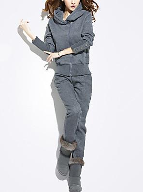 Dames Actief Herfst / Winter Set Pantalon Suits,Casual/Dagelijks Effen Capuchon Lange mouw Grijs Polyester Dik