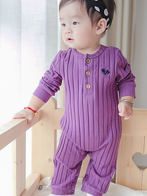 Baby Casual/Daily Striped Clothing Set-Cotton-Spring-Purple / White