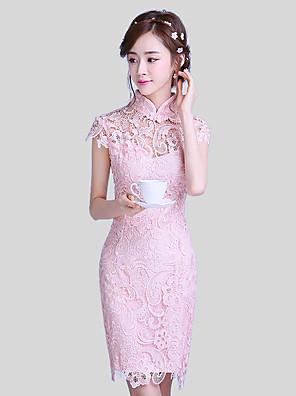 קצר \ מיני תחרה אלגנטי שמלה לשושבינה - מעטפת \ עמוד צווארון גבוה עם תחרה