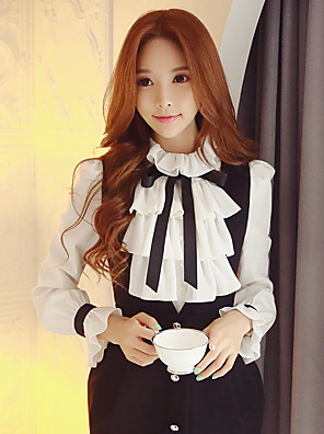 Women's Going out / Work / Party/Cocktail Vintage / Sophisticated ShirtSolid Shirt Collar Long Sleeve