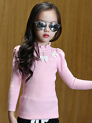 Girl's Wild Solid Beading Bow Knitwear Bottom Sweater & Cardigan