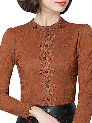 Fall Winter Women's Plus Size Go out Lace Plus velvet Blouse Solid Color Stand Collar Long Sleeve