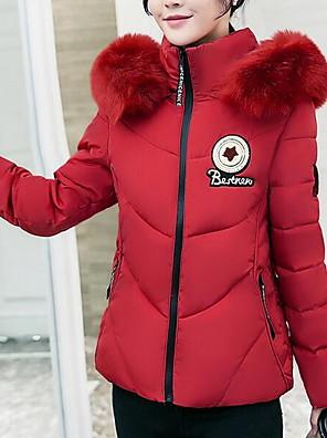 Dámské Krátké S vycpávkou Jednoduché Velké velikosti Jednobarevné-Kabát Bavlna / Polyester Polypropylen Dlouhý rukáv KapuceRůžová /