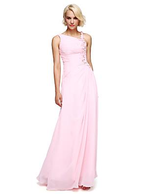 Lanting Bride® Longo Chiffon Vestido de Madrinha De Baile Com Recorte com Miçangas / Flor(es)