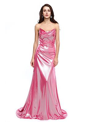 TS Couture® Evento Formal Vestido - Brilho & Glitter Linha A Drapeado Cauda Corte Microfibra Jersey com Pregas