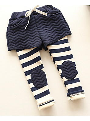 Girl's Casual/Daily Striped PantsCotton Winter Black / Pink