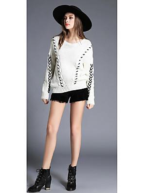 בינוני (מדיום) חורף אחרים שרוול ארוך צווארון עגול לבן / שחור רקמה פשוטה יום יומי\קז'ואל סוודר קצר נשים מיקרו-אלסטי