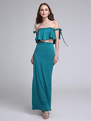 2017 לנטינג bride® באורך הקרסול ג'רזי שמלת השושבינה סקסי - ה- off- הכתף עם קשת (ים)