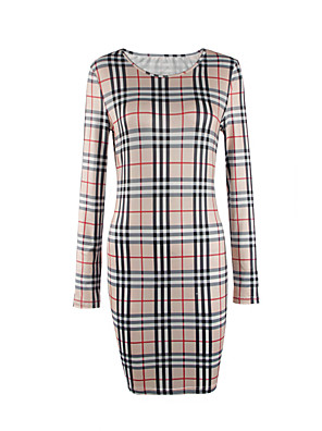 Women's Work Vintage / Street chic Bodycon Dress,Plaid Round Neck Mini Long Sleeve Blue / Pink / Red / Beige / Green PolyesterSpring /