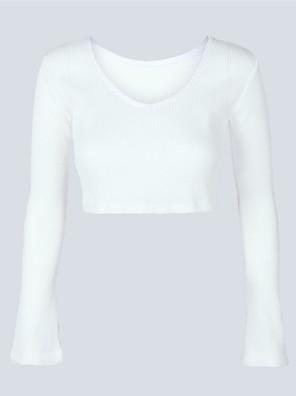 בינוני (מדיום) סתיו / חורף פוליאסטר שרוול ארוך צווארון V לבן אחיד סקסי / פשוטה / סגנון רחוב ליציאה / יום יומי\קז'ואל / חג סוודר קצר נשים