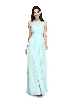 Lanting Bride® Longo Chiffon Elegante Vestido de Madrinha - Linha A Decorado com Bijuteria com Faixa / Fita / Pregas