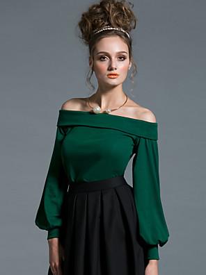 Dame Sexet / Simpel I-byen-tøj Normal Pullover Ensfarvet,Rød / Sort / Grøn Skulderfri Langærmet Bomuld Forår / Efterår Medium Elastisk