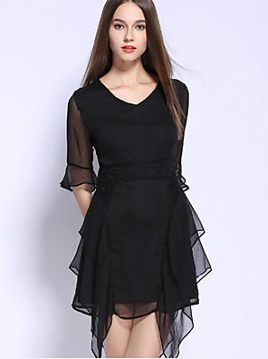 אביב / סתיו כותנה שחור אורך חצי שרוול א-סימטרי צווארון עגול אחיד מתוחכם יום יומי\קז'ואל שמלה שחורה וקטנה נשים,גיזרה בינונית (אמצע)