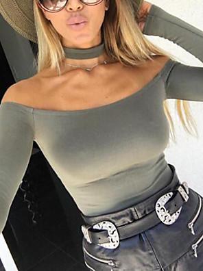 Dámské Sexy Běžné/Denní Standardní Kardigan Jednobarevné,Černá Dlouhý rukáv Pod rameny Spandex Zima Střední Lehce elastické