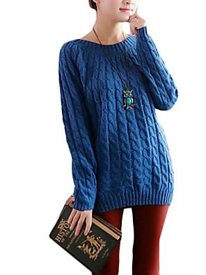Dames Casual/Dagelijks Eenvoudig Normaal Vest Effen-Blauw / Roze / Rood / Wit / Zwart / Geel Ronde hals Lange mouw Acryl Herfst Medium