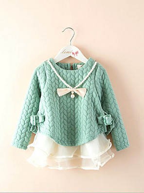 Girl's Casual/Daily Patchwork DressCotton Fall Green / Pink