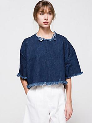 Feminino Camiseta Happy-Hour / Casual Moda de Rua Outono,Sólido Azul Algodão Decote Redondo Meia Manga Opaca / Fina