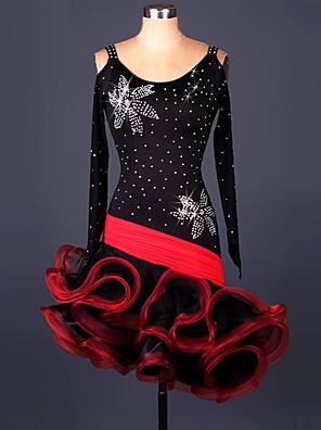 Dança Latina Vestidos Actuação Elastano / Renda / Organza Cristal/Strass / Amarrotado 1 Peça Manga Comprida Alto Vestidos