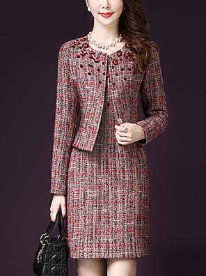 Dámské Proužky Velké velikosti Sofistikované Sada Sukně Obleky-Jaro / Podzim Bavlna Kulatý Dlouhý rukáv Červená Střední