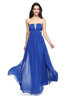Lanting Bride® Longo Chiffon Vestido de Madrinha - Brilho & Glitter Linha A Tomara que Caia com Cruzado / Lantejoulas