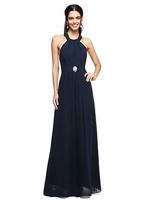Lanting Bride® עד הריצפה שיפון שמלה לשושבינה  - גב יפהפייה גזרת A קולר עם סיכה מקריסטל / קפלים