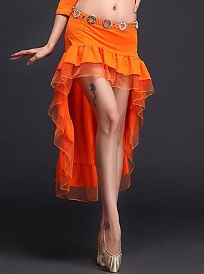 ריקוד בטן חצאיות טוטו וחצאיות בגדי ריקוד נשים ביצועים פוליאסטר / מילק פייבר קפלים חלק 1 טבעי חצאית Front / Back: 29 / 83cm