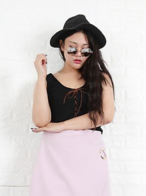 Nininiu Women's Plus Size / Casual/Daily Simple Fall Tank TopSolid Round Neck Sleeveless Black Cotton Medium