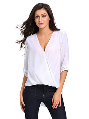 Casual/hétköznapi Egyszerű V-alakú-Női Póló,Egyszínű Nyári ¾-es ujjú Fehér Poliészter / Spandex Vékony