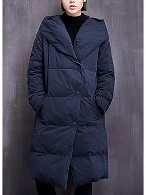 Dámské Standardní Dlouhý kabát Jednoduché / Aktivní Jdeme ven / Běžné/Denní Jednobarevné-Kabát Polyester Prachové kachní peří bíléDlouhý