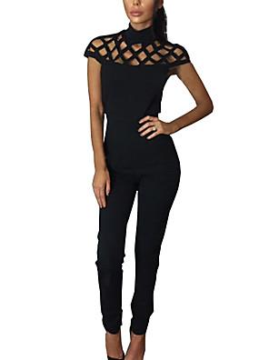 Damen Overall-Lässig/Alltäglich Einfach einfarbig Gitter Rundhalsausschnitt Kurze Ärmel Nylon Riemengurte