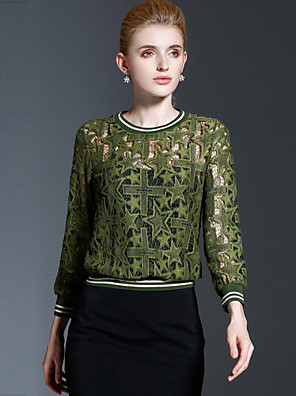 FRMZ  Women's Casual/Daily Vintage T-shirtEmbroidered Round Neck Long Sleeve Green Cotton / Nylon