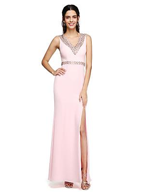 Lanting Bride® עד הריצפה שיפון פורקל שמלה לשושבינה - מעטפת \ עמוד צווארון וי עם חרוזים / סרט / שסע קדמי