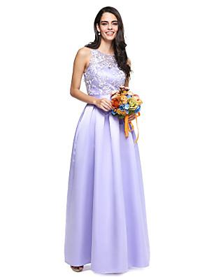Lanting Bride® Na zem Krajka / Satén Šaty pro družičky - Elegantní Plesové šaty Klenot s Šerpa / Stuha