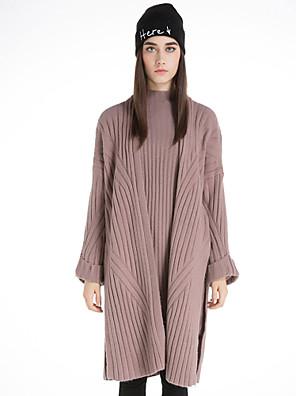 Dames Casual/Dagelijks Vintage Lang Vest Effen-Roze / Bruin / Geel V-hals Lange mouw Wol / Katoen / Polyester Winter Medium