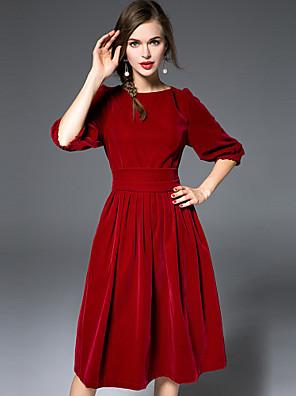 Damen Swing Kleid-Lässig/Alltäglich Einfach Solide Rundhalsausschnitt Übers Knie ½ Länge Ärmel Rot Seide / Polyester HerbstMittlere