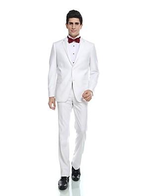חליפות-גזרה מחוייטת(לבן,ויסקוזה / צמר ופוליאסטר מעורב / פוליאסטר / ריון (T / R),שני חלקים)