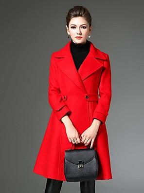 Damen Solide Retro Lässig/Alltäglich Mantel,Winter Gekerbtes Revers Langarm Rot Mittel Wolle / Polyester