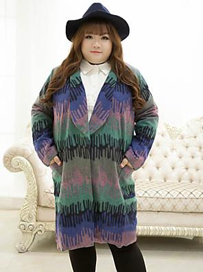 Damen Druck Retro Lässig/Alltäglich / Übergröße Mantel,Winter Gekerbtes Revers Langarm Blau Mittel Polyester