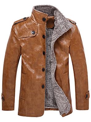 Heren Vintage / Eenvoudig / Street chic Herfst / Winter Leren jacks,Casual/Dagelijks / Grote maten Opstaand-Lange mouw Zwart / Bruin Effen
