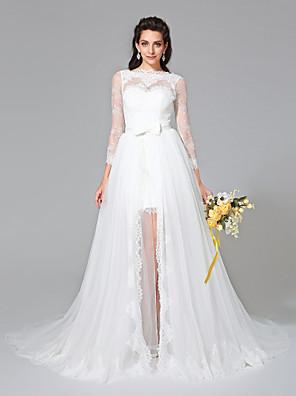 Lanting Bride® A-Linie Svatební šaty - Elegantní & moderní Dva díly Velmi dlouhá vlečka Bateau Krajka / Tyl sKnoflíky / Šerpa / Stuha /