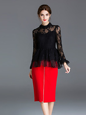 Dames Eenvoudig Overhemd Rok Suits,Casual/Dagelijks Effen Ronde hals Lange mouw Zwart Nylon
