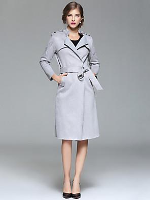 Dames Eenvoudig Herfst / Winter Trenchcoat,Uitgaan / Casual/Dagelijks Overhemdkraag-Lange mouw Grijs Effen Medium Katoen / Polyester