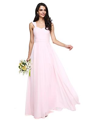 Lanting Bride® עד הריצפה שיפון אלגנטי שמלה לשושבינה - גזרת A רצועות עם סרט / בד בהצלבה / סלסולים