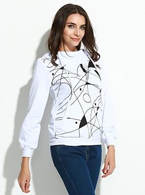 בינוני (מדיום) סתיו כותנה שרוול ארוך צווארון עגול לבן / צהוב גיאומטרי פשוטה / סגנון רחוב מסיבה\קוקטייל / מידות גדולות Hoodies ארוך נשים