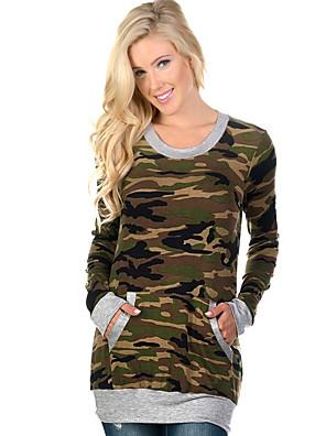 Langærmet Rund hals Medium Dame Sort / Grå camouflage Efterår / Vinter Vintage I-byen-tøj T-shirt,Bomuld