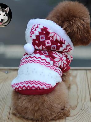 Macskák / Kutyák Kapucnis felsőrész Piros / Barna Kutyaruházat Tél Hópehely Melegen tartani