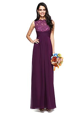 Lanting Bride® עד הריצפה שיפון / תחרה שמלה לשושבינה  - אלגנטי גזרת A צווארון גבוה עם בד בהצלבה / קפלים