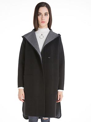 Dames Casual/Dagelijks Vintage Lang Vest Effen-Blauw / Zwart Capuchon Lange mouw Wol / Katoen / Polyester Winter Medium Micro-elastisch
