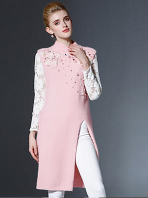 Dames Casual/Dagelijks Vintage Lang Pullover Effen-Roze Strakke ronde hals Mouwloos Rayon / Nylon Herfst Medium Rekbaar
