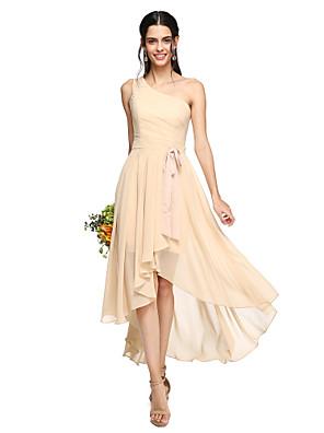 Lanting Bride® א-סימטרי שיפון גב פתוח שמלה לשושבינה - גזרת A כתפיה אחת עם פפיון(ים) / סרט / קפלים